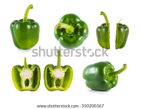 Green Sweet bell pepper (capsicum) isolated on white - stock photo