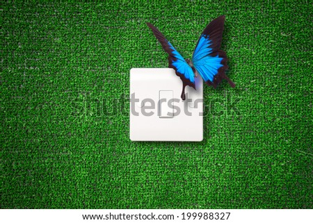 Green switch, eco renewable energy power - stock photo