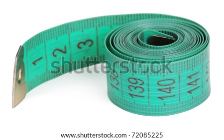 Green tape-line isolated on a white background - stock photo