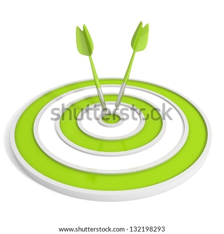Green target and two dart arrows on white background - stock photo