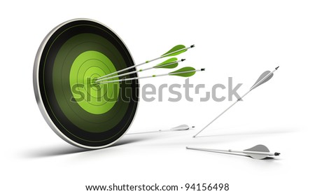 green target onto a white background with three arrows reaching their goal, and whites arrows on the floor failed to reach their objective. - stock photo