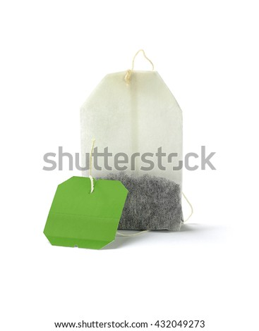 Green Tea Bag With Blank Label on White Background - stock photo