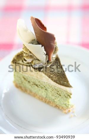 green tea cake in close up - stock photo