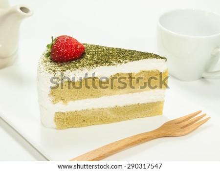 Green tea cheese cake - stock photo