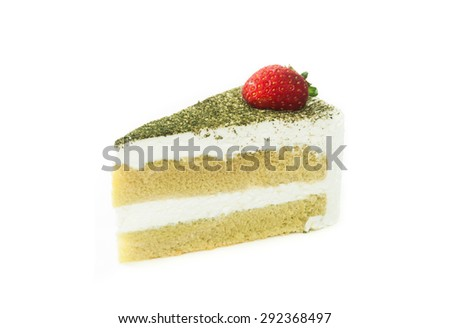 Green tea cheese cake isolated on white background.  - stock photo