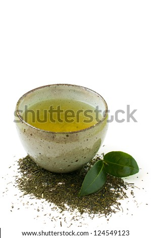 green tea in a bowl isolated on a white background - stock photo