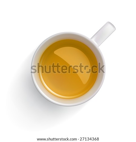 Green tea in a white cup. Clipping path isolating cup! - stock photo