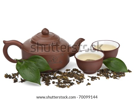 green tea isolated - stock photo
