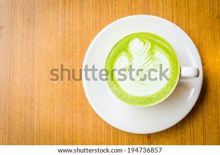 Green tea latte - stock photo