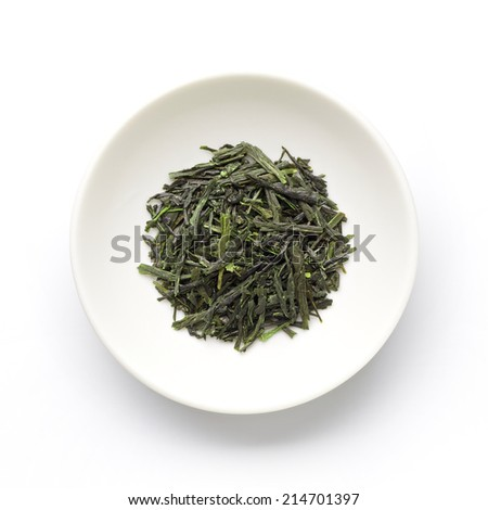 Green tea leaves , Japanese tea , Sencha, Ryokucha - stock photo