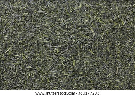 Green tea leaves , Japanese tea , Sencha , Ryokucha , Yamecha - stock photo