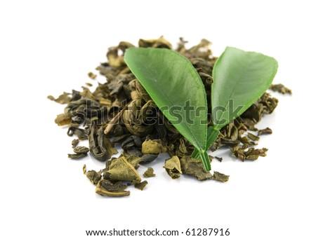 green tea on a white background - stock photo