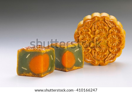 Green tea single yolk moon cake - stock photo