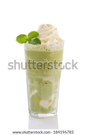green tea smoothie with whipped cream isolated on white background. - stock photo