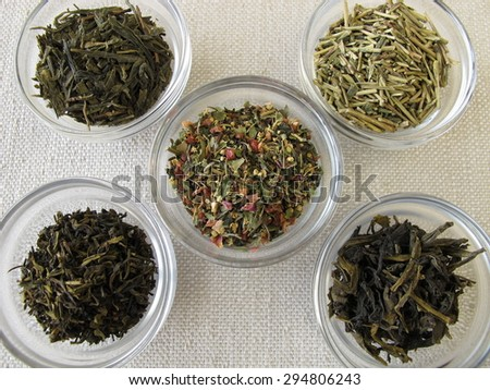 Green tea varieties - stock photo