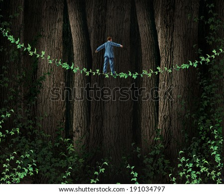 Green Technology Investing business concept as environmentally friendly companies supporting clean solutions for profit as a businessman walking through a dense forest on a vine tightrope. - stock photo