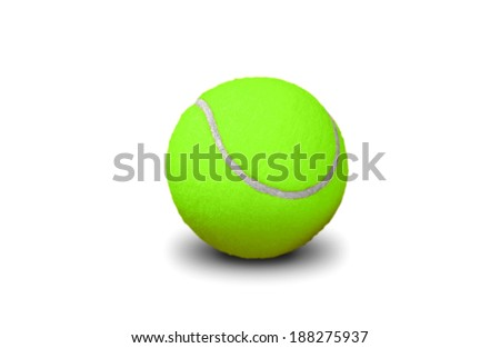 green tennis ball isolated on white - stock photo