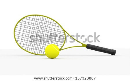 Green tennis racket with ball on white background - stock photo