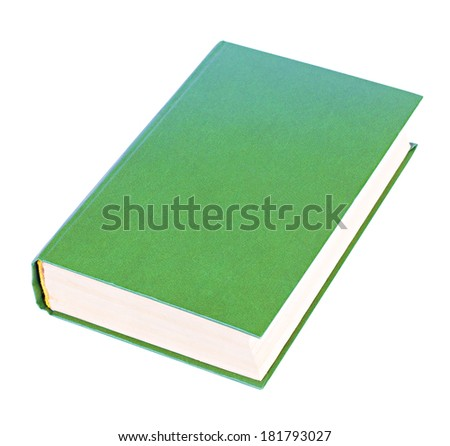 Green thick book with blank hardcover lying isolated on white background - stock photo