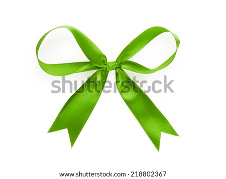 green thin ribbon bow, isolated on white - stock photo