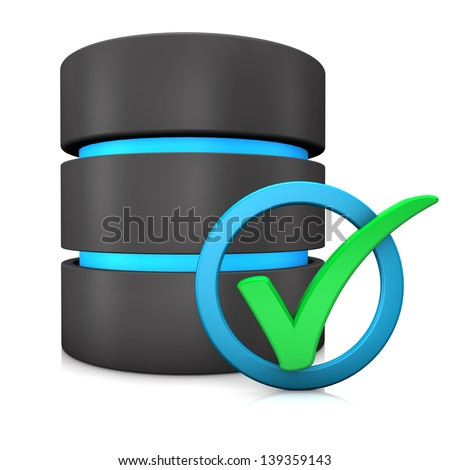 Green tick in a blue ring with database on the white background. - stock photo