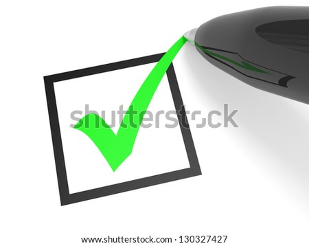 Green tick in checkbox and pen. Vote. 3D illustration. - stock photo