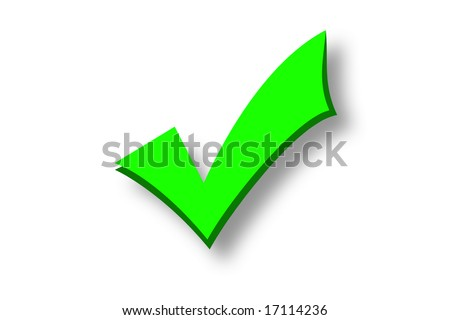Green tick isolated over a white background - stock photo