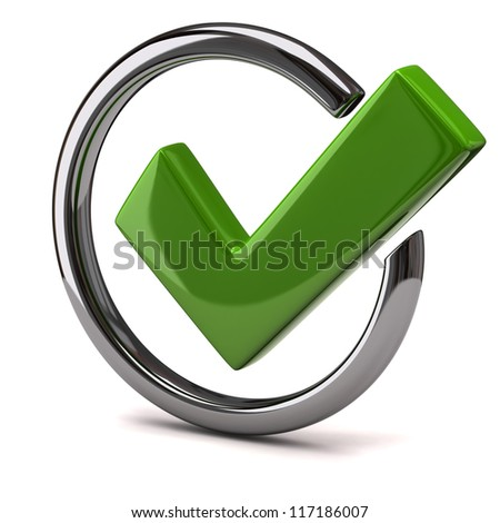 Green tick sign icon 3d - stock photo