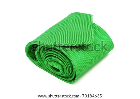 green tie close up on white background - stock photo
