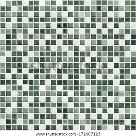 green tiled bathroom, kitchen or toilet tile wall background - stock photo