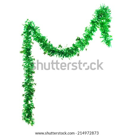 Green tinsel with stars. Isolated on a white background.  - stock photo