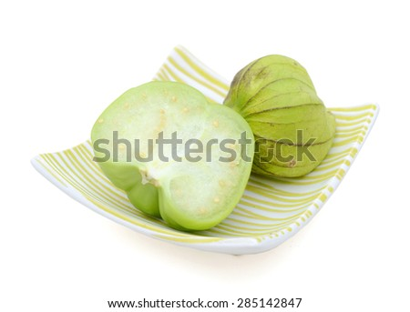 green tomatillo fruits, salsa verde ingredient - stock photo