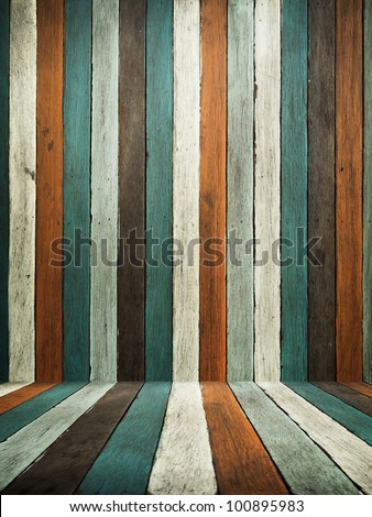 Green Tone old wood wall and floor for web page background - stock photo