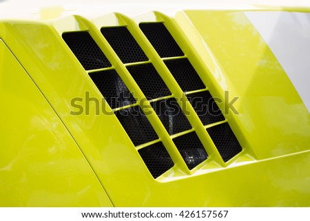 Green tractor details - stock photo