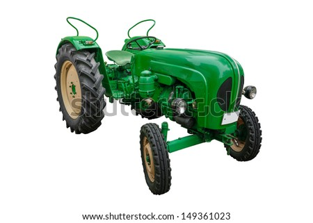 green tractor isolated on white - stock photo
