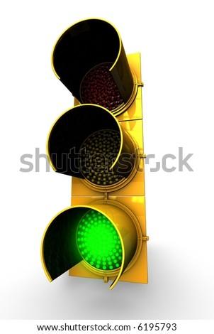 Green Traffic Light - stock photo