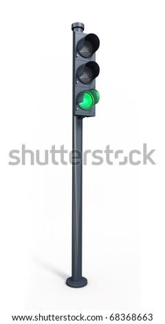 green traffic light (clipping path) - stock photo