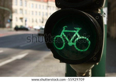 Green traffic light for bicyclists - stock photo