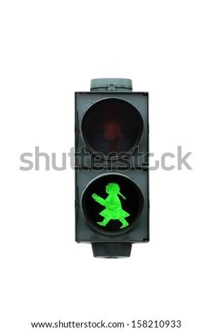 Green traffic light girl for pedestrians - stock photo