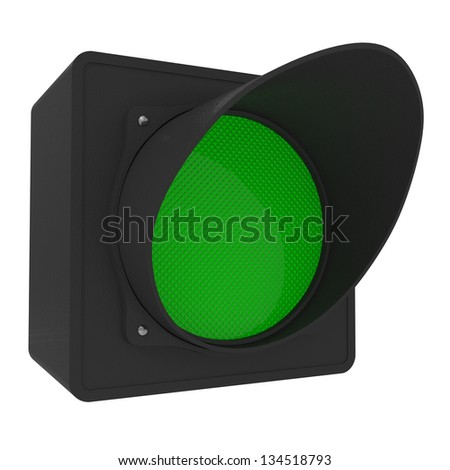 Green Traffic Light isolated on white - 3d illustration - stock photo
