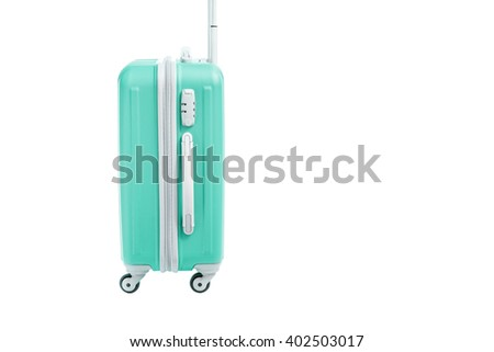green travel bag isolated on white background - stock photo