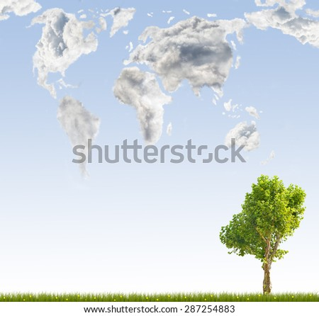green tree and global map from clouds on blue background - stock photo