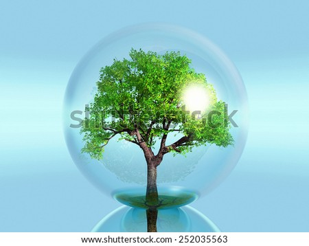 green tree in a bubble - stock photo