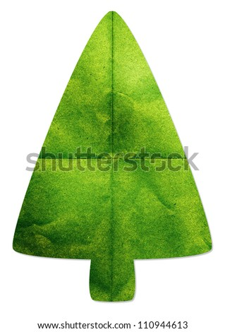Green tree made by recycled paper craft on white background - stock photo
