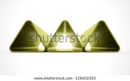 Green triangle concept on white background - stock photo