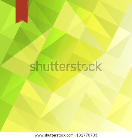 Green triangles abstract background with red tag. Raster version, vector file available in portfolio. - stock photo