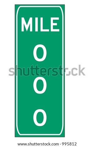 Green triple digit mileage sign isolated on a white background - stock photo