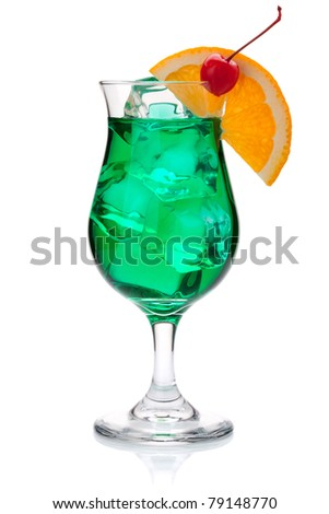 Green tropical cocktail with orange and maraschino. Isolated on white - stock photo