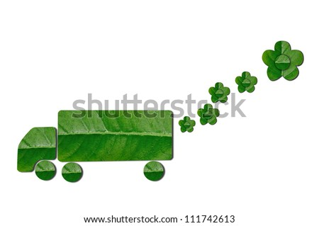 Green Truck With Flower For Eco Concept - stock photo