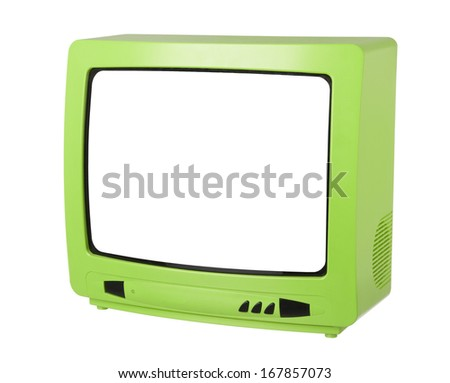 Green Tv isolated on white background - stock photo